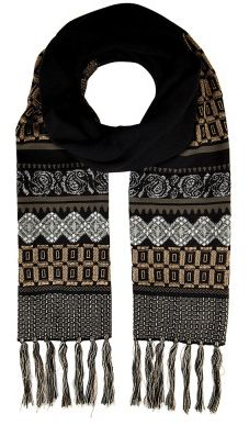 Etro wool patterned knit scarf $700