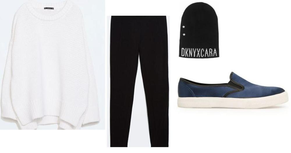 Sweater, Tights @ZARA Shoes @MANGO Beanie @net-a-porter