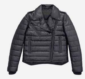 Padded leather jacket 299 euros