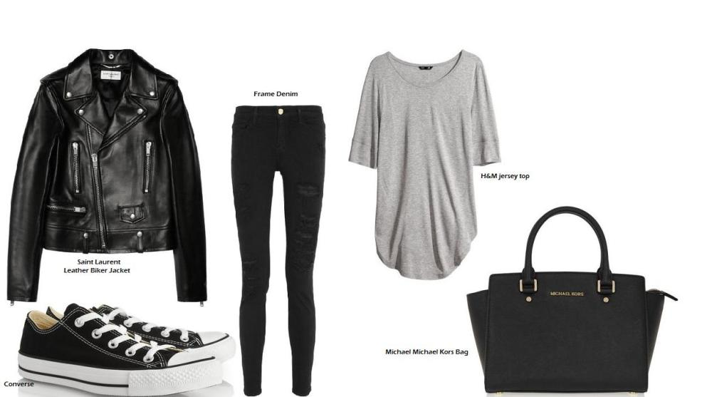 Shop at H&M and at net-a-porter for Saint Laurent, Converse, Frame Denim and Michael Kors.
