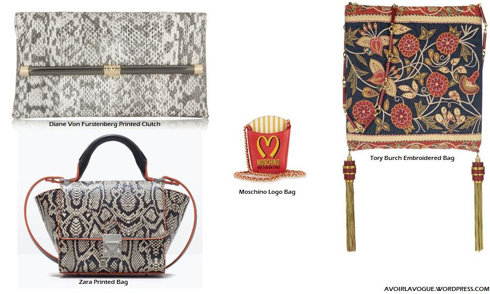 The Printed/Logo Clutch/Bag Shop Diane Von Furstenberg, ory Burch and Moscino at net-a-porter, Zara.