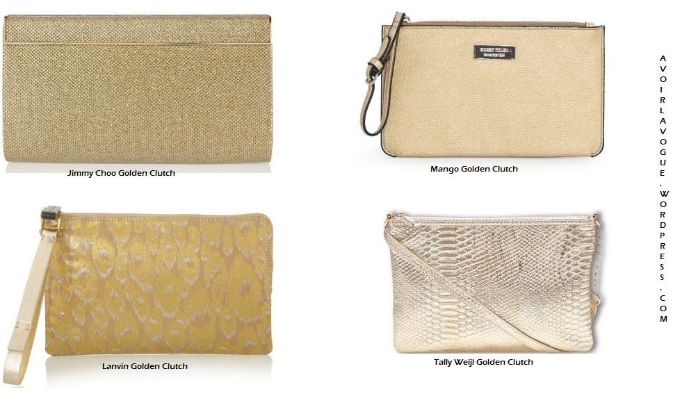 The Golden Clutch Shop Jimmy Choo and Lanvin at net-a-porter, Tally Weil and Mango
