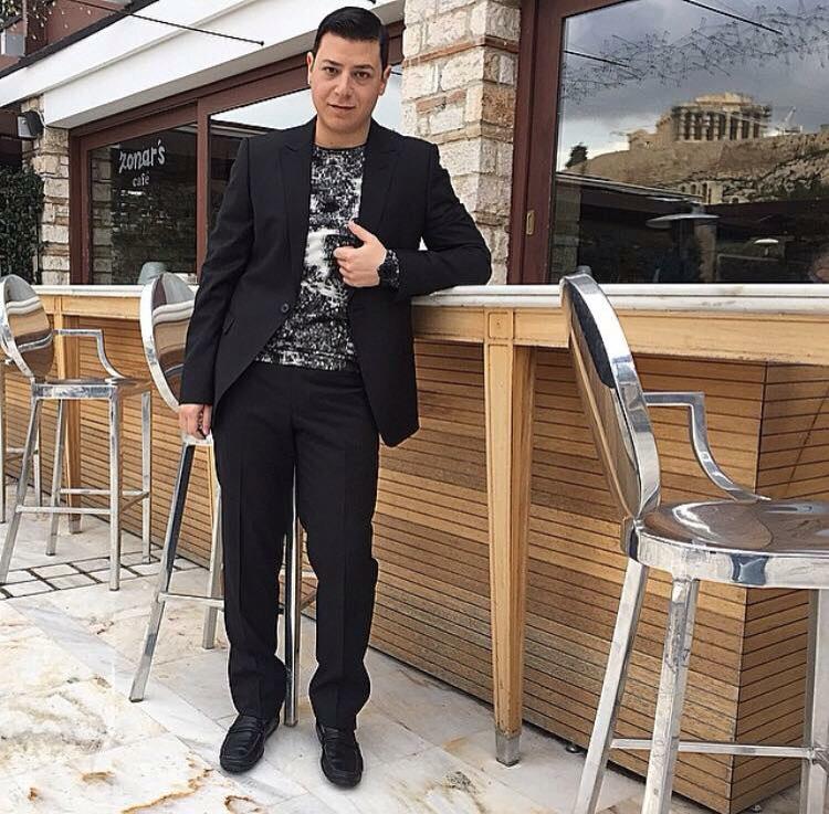 Tasos Lazaridis in total Armani look.
