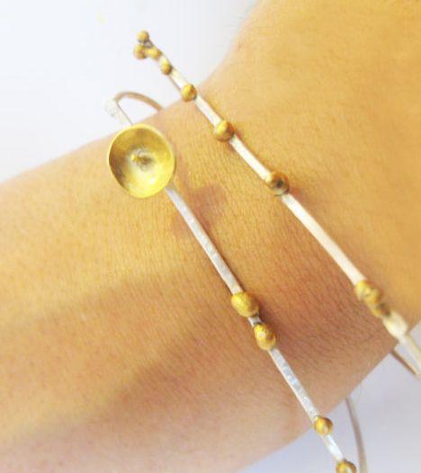 Silver Bangles-Gold plated- set of 2 bangles